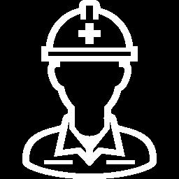 工事の作業員のアイコン白 株式会社 金子工務店